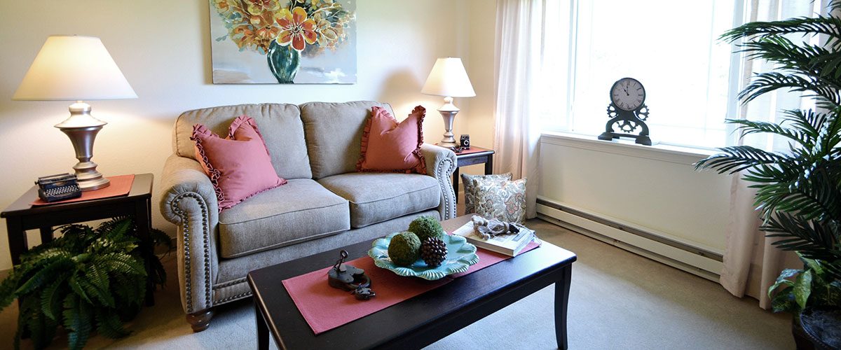 Photo of apartment living room at Library Terrace Assisted Living in Kenosha WI