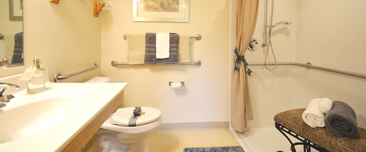 Photo of a clean accessible bathroom at Library Terrace Assisted Living in Kenosha WI