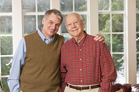 Photo of father and son representing the seniors living at Library Terrace Assisted Living in Kenosha WI