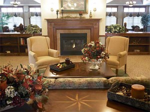 Photo of the beautiful fireside room at Library Terrace Assisted Living in Kenosha WI
