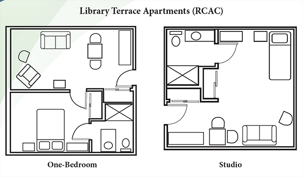 Diagram of one-bedroom and studio floor plans at Library Terrace Assisted Living in Kenosha WI