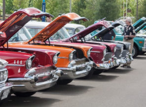 Photo of classic cars like those on display at the Classic Car Show at Library Terrace Assisted Living Kenosha WI.