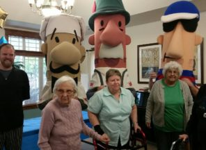Photo of Brewer Racing Sausages visit to Library Terrace Assisted Living in Kenosha WI
